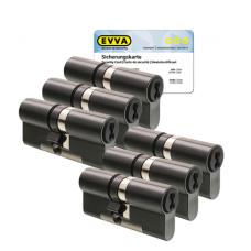 EVVA 4KS Zylinder patiniert schwarz mit Kernziehschutz (6x) - SKG***