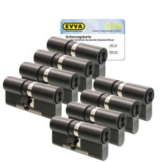 EVVA 4KS Zylinder patiniert schwarz mit Kernziehschutz (8x) - SKG***