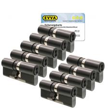 EVVA 4KS Zylinder patiniert schwarz mit Kernziehschutz (9x) - SKG***